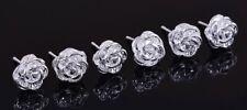 Boho Festival Party Boutique Uk Silver Rose Stud Luxury Fashion Earring