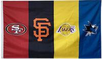 San Francisco 49ers&SF Giants&San Jose Sharks&Los Angeles Lakers flag 3x5FT