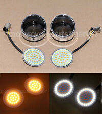 Turn Signals Running Lights Lens Cover 1157 LED Inserts Amber White fits Harley