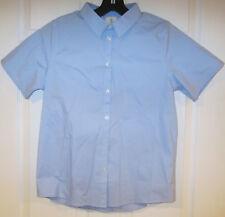 Lands' End Uniform Button-Up Shirt girl's sz 16 light blue short sleeves