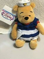 "The Disney Store Vintage Nautical Pooh 8"" NWT Mini Bean Bag Plush"