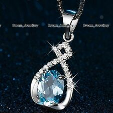 Unique Blue Crystal & Infinity Silver Pendant Necklace Xmas Gifts for Her Women