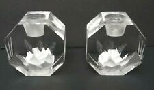 M Cox Reverse Carved Etched Lucite Candlesticks Candle Holders Roses Flowers