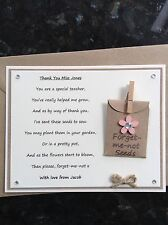 Personalised Thank You Special Teacher Poem Gift Magnet. Forget-me-not Seeds