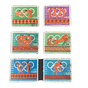 ECUADOR, SCOTT # 754-754E(6), COMPLETE SET 1966 HISTORY OF OLYMPICS ISSUE USED