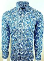 PAISLEY BLUE MENS*PARTY*CASUAL MOD 60s SHIRT NOW £19.99 (375)