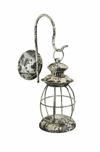 Rustic Distressed Metal Wall Mounted Railroad Lantern Hanging Candle Sconce