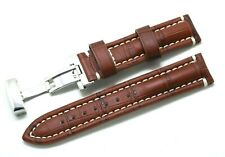 20mm Brown/White Croco Embossed Leather Watch Strap Stainless Push Button Clasp