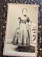 CDV Civil War era Beautiful Girl Hand colored Mourning Fashion  San Francisco