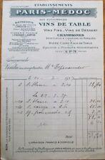 Wine 1937 Letterhead/Billhead: Paris-Medoc, Vins de Table - France/French