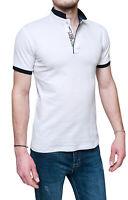 Maglia polo uomo Diamond shirt bianca casual slim fit aderente skynny da S a XXL