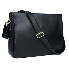 Men Genuine Leather Crossbody Black Messenger Shoulder Laptop Satchel School Bag