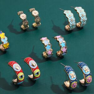 Retro Enamel Star Flower C-shape Stud Earrings Women Ear Accessories JewelSG