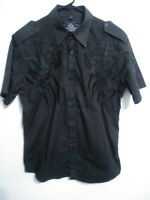 Roar Mens Size Large Dark Brown Embroidered Short Sleeve Button Up Shirt