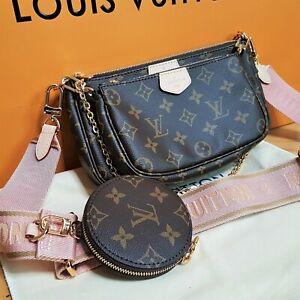 LOUIS VUITTON MULTI POCHETTE Rose strap bag Monogram AUTHENTIC Shoulder handbag