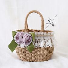 Handmade straw bag handbag basket Woven bag Mori Girl Lolita Rattan bag