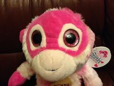 NEW 2015 Pink  MONKEY Big Eyes Pinkie Best Friends Forever BFF SPARKLES Plush 8""