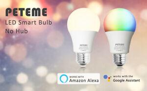 Peteme LED Smart WiFi Bulb (2 Pack) A19 LED Smart Bulb White / RGB PA197W01
