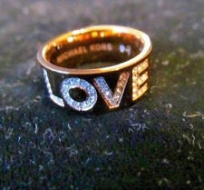 Gorgeous Michael Kors Rose Gold Pave Crystal LOVE Logo Wide Ring-Sz 7-$85.00-EUC