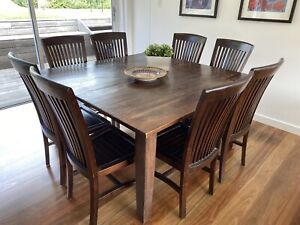 Used 8 seater square dining table and Chairs