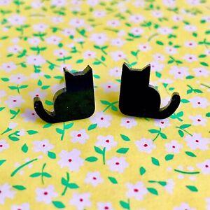 Cute Miniature Black Cat / Kitten Earrings/ Quirky/ Gift Idea/ Halloween