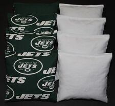CORNHOLE BEANBAGS made w NEW YORK JETS Fabric 8 ACA Reg Bags