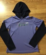 Under Armour Shirt Long Sleeve Hooded Size YXL Purple Navy