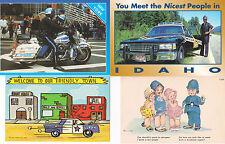 4 Postcard Lot Motorcycle Police Cop Officer Car New York NY Idaho Uniform Boots