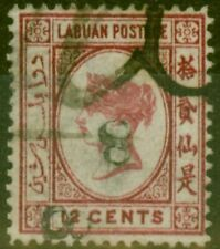 Labuan 1880 8c on 12c Carmine SG13b Upright 8 Inverted Fine Used Example Rare