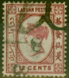 Labuan 1880 8c on 12c Carmine SG13b Upright 8 Inverted Fine Used Example Rare