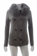 Paulie Ribbed Pure Cashmere Cardigan with Fox Fur Collar / Grey / RRP: £890.00