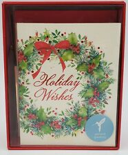 Christmas Cards Boxed Christmas Wreath and Holiday Wishes (20-Count)