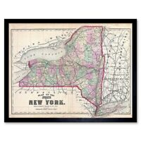 1873 Beers Map New York State Vintage 12X16 Inch Framed Art Print