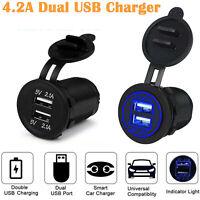 12V 24V Dual 2 Port USB Charger Socket Voltage Voltmeter Rocker Switch Panel Car