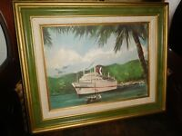 VINTAGE WATERCOLOR PAINTING SHIP NAUTICAL SEASCAPE SCENE FRAMED ARTIST SIGNED