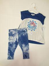 NWT Girls DKNY 2pc Shirt Leggings Pants Outfit 12M Floral Viva Blue Logo NEW