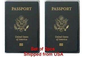 Set of 2 Heavy Duty Clear Vinyl Plastic Passport Cover Holder Travel MADE IN USA