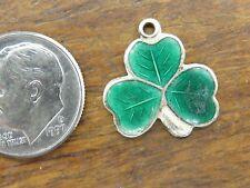 Vintage silver IRELAND IRISH 3 LEAF CLOVER GOOD LUCK ENAMEL PENDANT charm