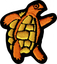 9829 Orange & Yellow Dancing Turtle Hippie 60s Retro Embroidered Iron On Patch