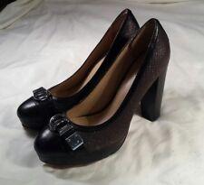 Coach Shoes 8 B Gray Black Heels Pumps Snake Pattern Buckle Trim