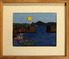 Lilly Kristensen LITTLE HARBOR, NAIPAKTOS Original Wool Collage Art, Greece OBO!