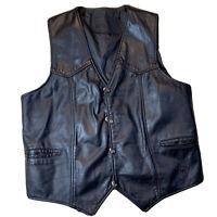 Branded Garments Large Camel Cigarettes Black Leather Biker Motorcycle Vest