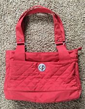 Baggallini Extra Large Salmon Coral Pink Quilted Nylon Tote Shoulder Bag EUC