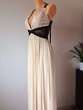 Rare at ASOS Plunge Maxi Dress with Contrast Lace Panels in Cream UK 8 EU 36