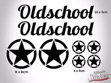 Oldschool US Army Stern Auto Aufkleber Set Star Sticker Hotrod Rat Schwarz Weiß
