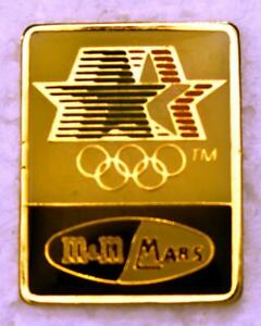 """M&M/Mars 1984 Los Angeles Olympics 1-1/8"""" x 7/8"""" Stars in Motion Collector's Pin"""