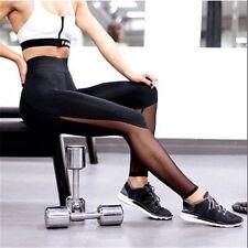 Women Fitness High Waist Leggings Mesh Patchwork Leggings Skinny Push Up Pants