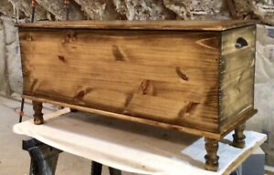 Amish Style Blanket Hope Chest Rustic Wood Old Vintage Country Farmhouse Trunk