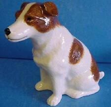 QUAIL CERAMIC BROWN & WHITE JACK RUSSELL TERRIER DOG MONEYBOX OR PIGGY BANK