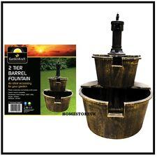 2 TIER WATER BARREL FOUNTAIN WITH PUMP GARDEN ORNAMENT FEATURE INDOOR OUTDOOR BR